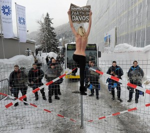 Ukrainian feminist nudity group FEMEN clash with Swiss police during a protest at the 42nd Annual Meeting of the World Economic Forum, WEF, in Davos, Switzerland