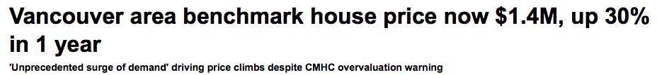 Vancouver housing headline