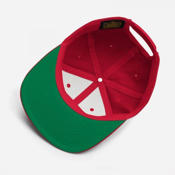 classic snapback hat under visor