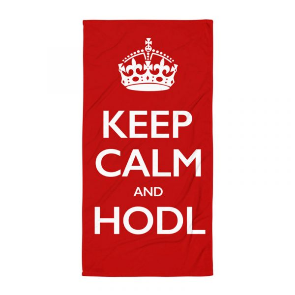 Keep Calm and HODL Towel - red