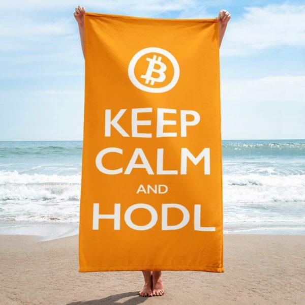 Keep Calm and HODL Towel - orange