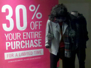 Discount sign in a store